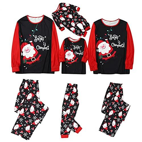 Family Matching Pajama Sets Cute Christmas Santa Printed Long Sleeve Sleepwear Xmas Holiday Pjs for Couples and Kids