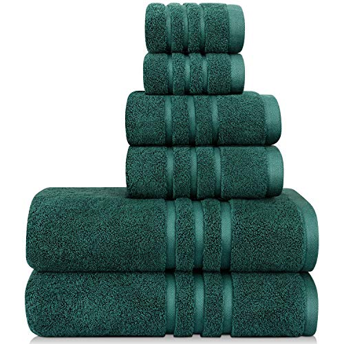 Josmon Towel Sets, Bath Towels Set 6 Pieces Towels for Bathroom, Luxury Highly Absorbent Hotel Spa Gym 2 Bath Towels 2 Hand Towels 2 Washcloths Teal