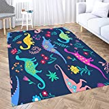 Vintage Area Rug,Shorping 3X5 Flower Door Area Rugs Modern Dinosaurs Cute Kids Pattern Girls and Boys Colorful Cartoon Space Area Rug Rugs for Living Room Large Area Rugs Area Rug for Kids