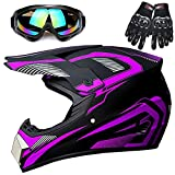 Youth Off-Road Motorcycle Helmets,Children's Helmets for Off-Road Motorcross and Mountain Bikes,Comfortable and Light Weight, DOT Quality Certification,Purple,S