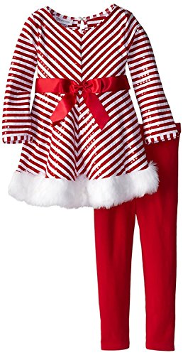 Bonnie Jean Little Girls' Mrs Claus Santa Christmas Dress & Leggings (X23717) (5)
