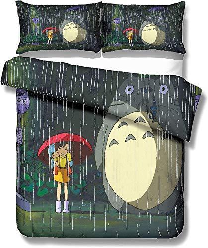 ZJJIAM My Neighbor Totoro - Juego de ropa de cama con estampado 3D de animación de animales, 3 piezas con cremallera, individual, sábana (LMAO-5,135 cm x 200 cm)