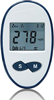 FJLOVE Medidor de glucosa en Sangre,Kit de Control de Diabetes Kit de Prueba de azúcar en Sangre Sin codificación con 50 Tiras reactivas sin código,50 lancetas,Dispositivo de punción