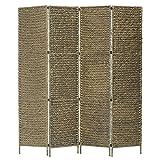 SHUJUNKAIN Biombo Divisor 4 Paneles Jacinto de Agua marrón 154x160 cm Mobiliario Divisores de ambientes Marrón