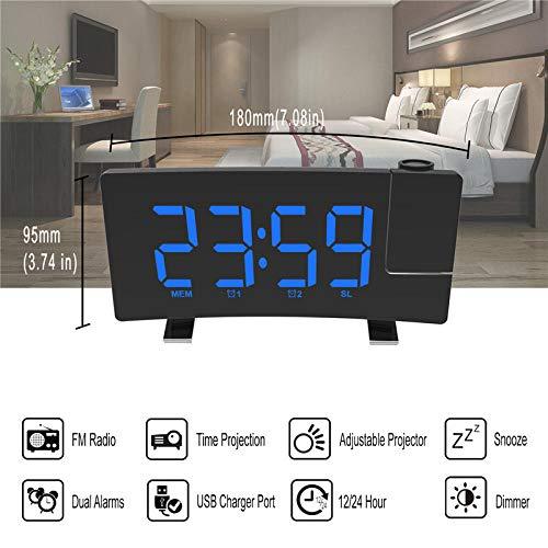 8 Inch WekkerFm-Radio Projectie Led-Scherm Dubbele Alarmen Snooze-Functie Uitgang Usb-Oplaadpoort Blauw