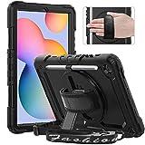 Timecity Hülle für Samsung Galaxy Tab S6 Lite (10,4 Zoll SM-P610/P615). Anti-Fall Hülle mit Displayschutz, Handschlaufe Schulterriemen, 360 ° Drehbarer Ständer, Bleistifthalter für Outdoor- Schwarz
