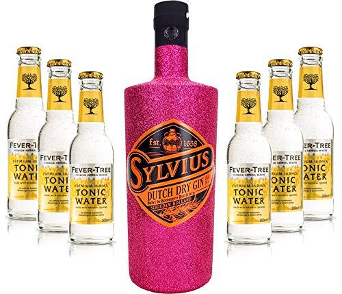 Gin Tonic Bling Bling Hot Pink Glitzer Set Geschenkset - Sylvius Dutch Gin 0,7l 700ml (45% Vol) + 6x Fever Tree Tonic Water 200ml inkl. Pfand MEHRWEG -[Enthält Sulfite]