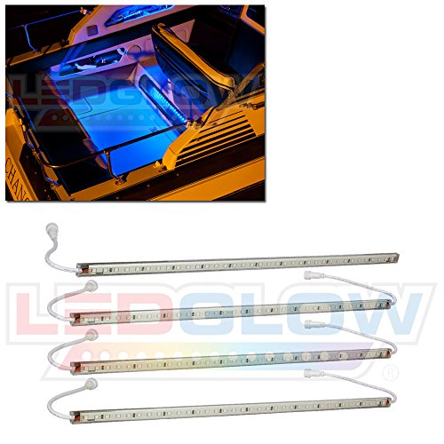 LEDGlow 4pc Blue LED Boat Marine Deck Under Gunnel & Cabin Accent Lighting Kit - 24