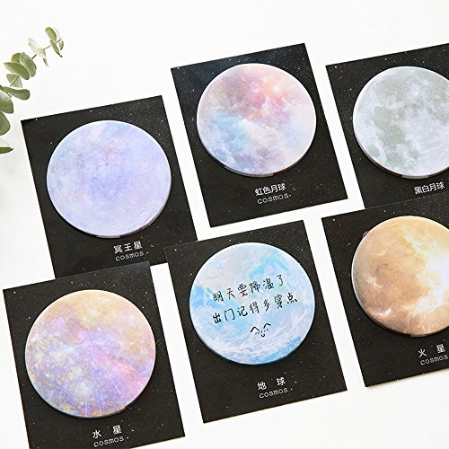 HUNGER The Planets Earth Mars Sticky Note Self-Stick Note Office Memo Note,30Pcs/Pad, 6Pads/Pack (Q55304)