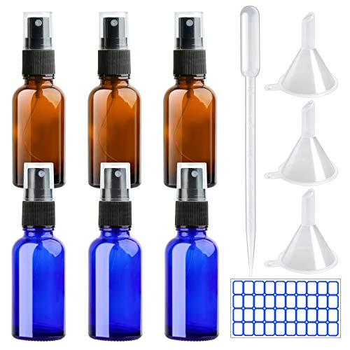 DONQL 6 botellas pequeñas de cristal ámbar con pulverizador de 30 ml para líquido de viaje, cosmético, agua, atomizador (azul y marrón)