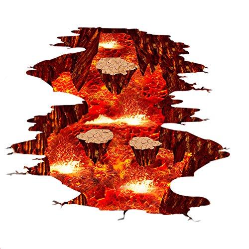 VOSAREA 3D Vulkan Explodierende Boden Decals Wandtattoos Realistische wasserdichte Abnehmbare Boden Wandaufkleber Dekoration