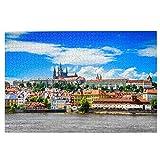 TTLUCKY Sierra calar de 1000 Piezas,Vista del Colorido Casco Antiguo del Castillo de Praga,Juegos Rompecabezas imágenes para Adultos y niños Regalo graduación de Boda Familiar