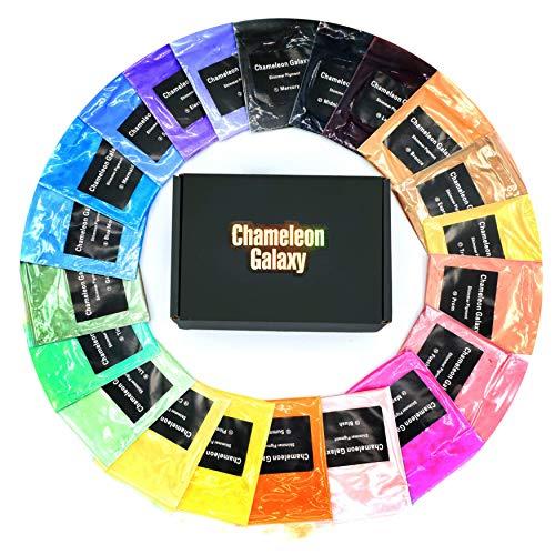 Chameleon Galaxy - Pigmento de polvo para jabón de baño, 24 colores (0,18 oz cada uno), seguro para el cuerpo y la piel, grado cosmético, adelgazamiento DIY, vela, resina, epoxi, uñas y sombra de ojos