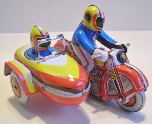 Unbekannt Motorrad Beiwagen aus Blech zum Aufziehen, Blechspielzeug