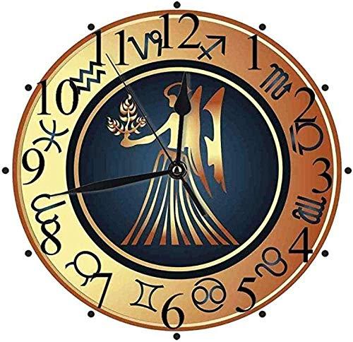 youmengying Co.,ltd Reloj De Pared Reloj De Pared Silent Zodiac Virgo Circle con Doce Personajes Y Mujer De Fantasía con Trigo Azul Oscuro Canela Pálido Yello