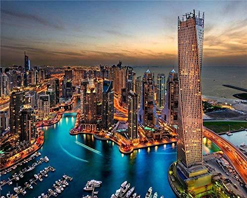 RHUAPuzzle di legno 1000 pezzi Dubai Skyscrapers Harbour Decorazioni per la casa uniche e regali
