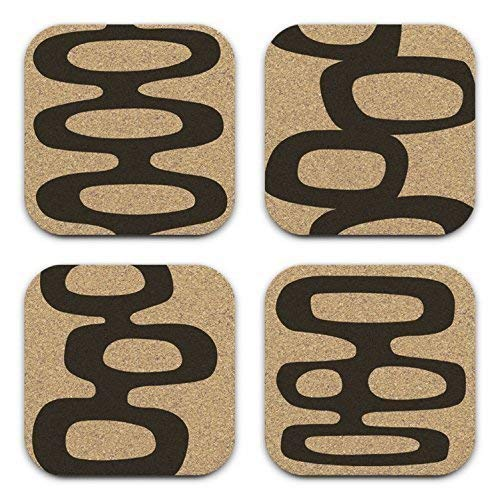 Mid Century Modern Retro Abstract Art Coaster Set