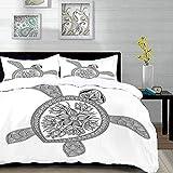 ropa de cama - Juego de funda nórdica, tortuga, figura artística de tortuga Henna Mehndi Tattoo Style Doodles Adornos florales Asia, azul Whi, juego de funda nórdica de microfibra con 2 fundas de almo