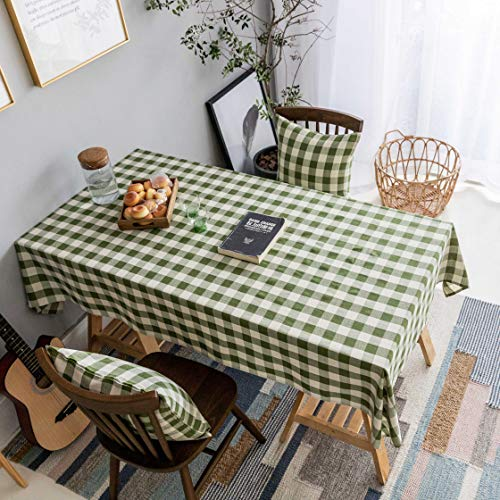 Home Brilliant Green Table Cloth (52 x72 Inches) Tablecloth for Dining Table Checker Table Cover for Kitchen Party Patio Indoor Outdoor, Beige and Grass Green