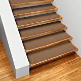 House, Home and More Set of 15 Skid-Resistant Carpet Stair Treads - Toffee Brown - 9 Inches X 36 Inches