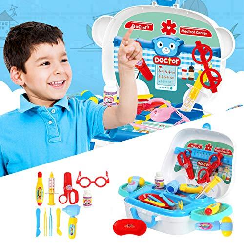 Rubeyul Juguetes de Médicos 9 Piezas, Kit Doctor Toy Doctor Accesorios Juegos de rol, Mochila Juegos de Imitación para 3 4 5 6 Años Niños Niñas, con Maleta