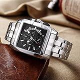 Reloj de pulsera de cuarzo exclusivo de marca grande para hombre Reloj de pulsera de cuarzo para negocios creativos Relojes deportivos de acero inoxidable para hombre Relogio Masculino Hyococ (Color: