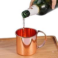 ビールマグカップ、ステンレス鋼銅メッキビールミルクコーヒーティーマグホームバードリンクカップビールカップハンドル付き