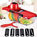 Picador de Verduras Multifuncional,Dispositivo para Picar Cebolla, rallador Rojo A,Cortador de Verdura Manual Cortador