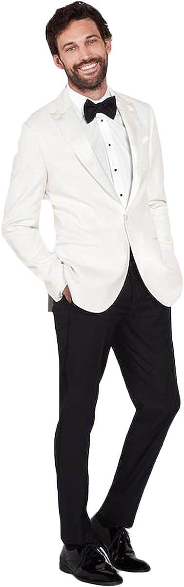 Newdeve Men's Groomsman Tuxedo White Suit Black Pants Bow Set