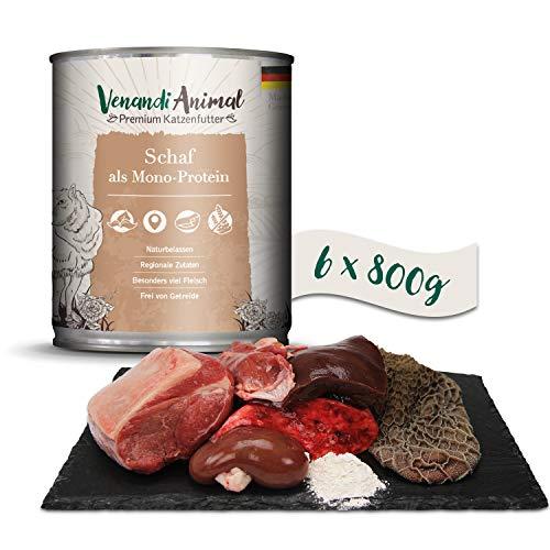 Venandi Animal - Pienso Premium para Gatos - Oveja como monoproteína - Completamente Libre de Cereales - 6 x 800 g