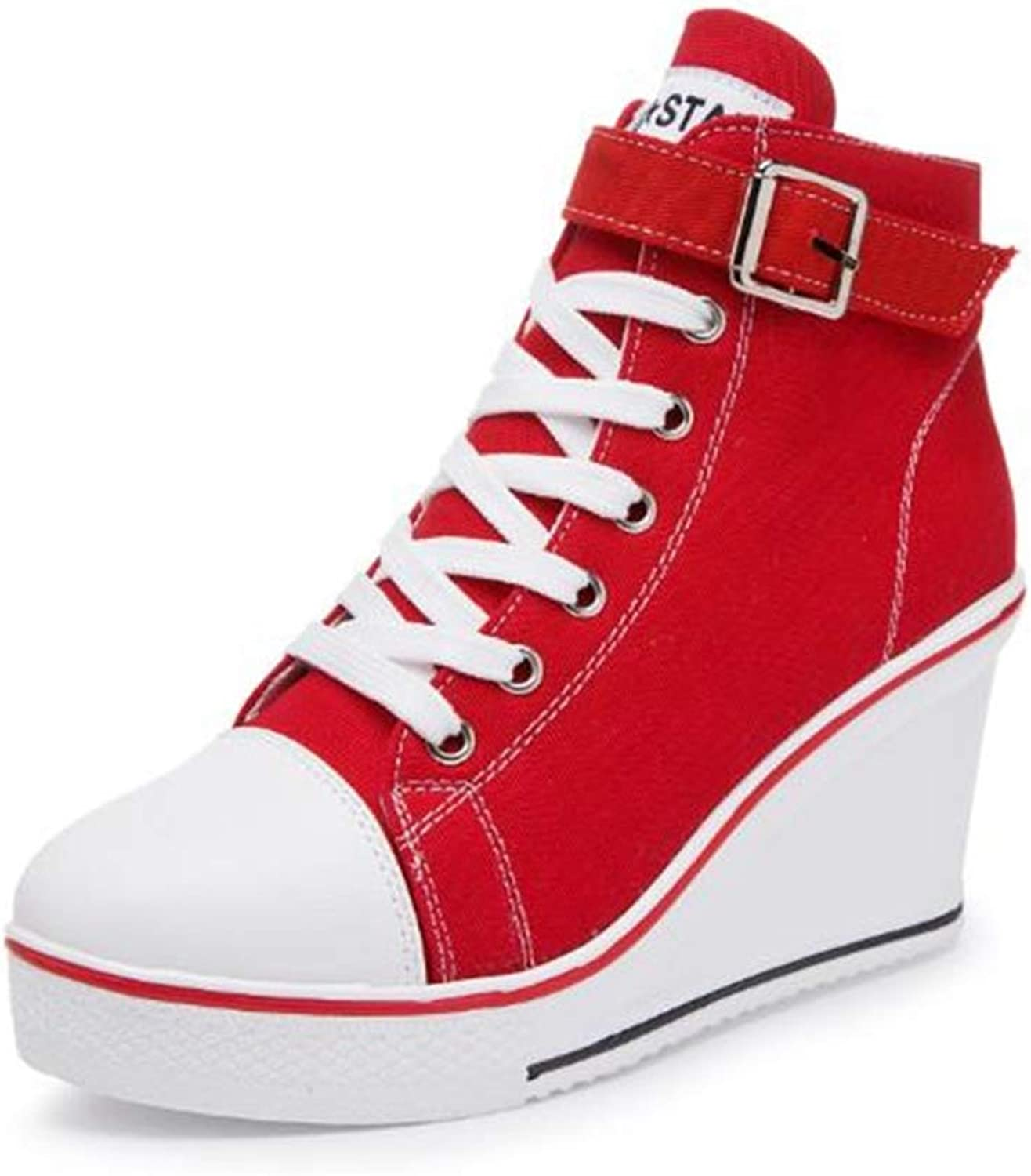 ASO-SLING Women's Platform Wedges Sneakers Casual Comfortable Height Increasing Lace up Canvas shoes with Buckle Strap