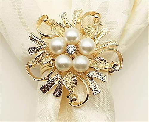 6 unids/lote Perlas con cuentas Anillo de servilleta Brazaletamiento Brazalete Brazalete Metal Servilleta Tenedor de ducha nupcial Decoración de mesa (Color : Gold)