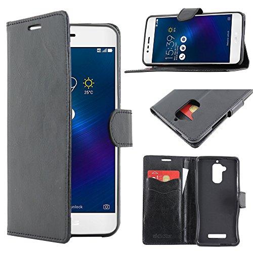 ebestStar - kompatibel mit Asus Zenfone 3 Max Hülle ZC520TL Kunstleder Wallet Hülle Handyhülle [PU Leder], Kartenfächern, Standfunktion, Schwarz [Phone: 149.5 x 73.7 x 8.6mm, 5.2'']