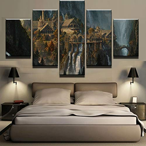 5 Canvas paintings Nordic Decor New Art Canvas Mysterious Mountain Castle Waterfall Wall For Living Room Painting Picture Poster Frameless