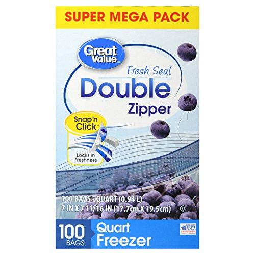 Great Value Double Zipper Freezer Bags, Quart, 100 Count