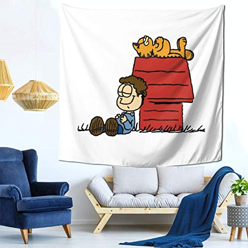 1033 Jon Brown Garfield Snoopy Peanuts Wall Hanging Tapestry for Living Room and Bedroom Spreads Good Vibes 59×59 Inches