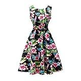 Yeokou Womens Sleeveless Floral Knee Length Cotton Hawaiian Flare Tank Dress (X-Small, Floral-01)