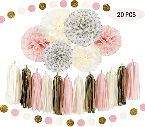 Abseed 20 Stück seidenpapier pompoms weiß creme pink Tissue Dekoration (20pcs)