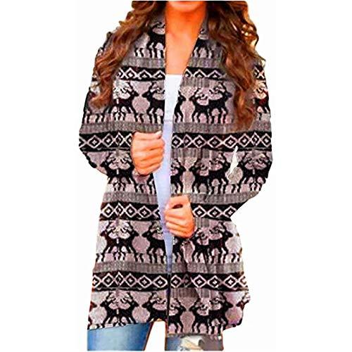 Plus Size 3XL Casual Cardigan Top Blouses Womens Christmas Snowman Open Front Long Sleeve Loose Flowy Hem Cardigan Coat