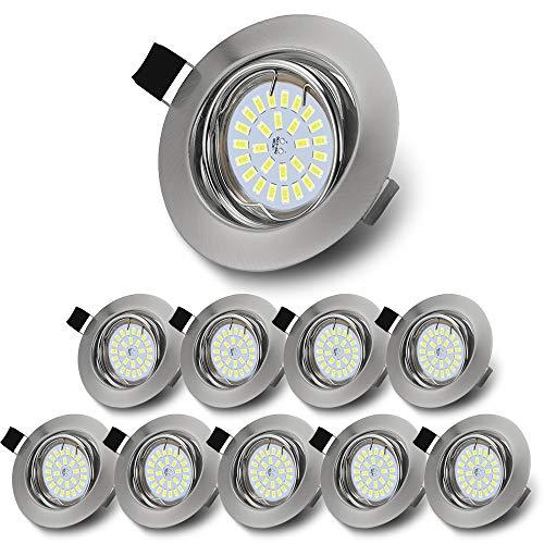 Faretti LED GU10 da Incasso per Cartongesso, Bianca Freddo Lampada da Incasso, 5W Equivalenti a 50W Lampada Alogena, Angolo regolabile di 30° Non Dimmerabile (Pack da 10)