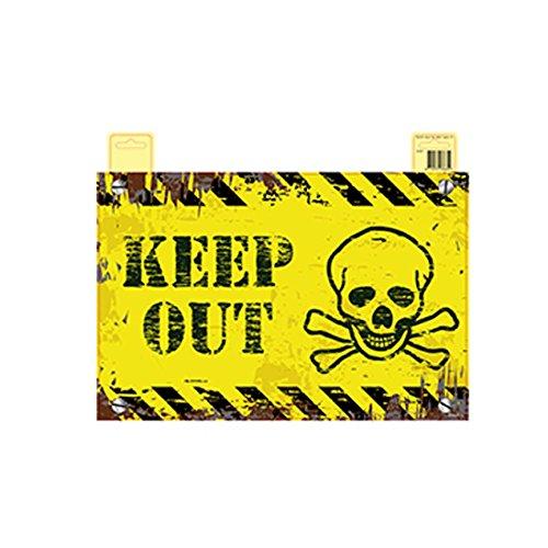 NET TOYS Letrero Halloween Keep out Cartel decoración