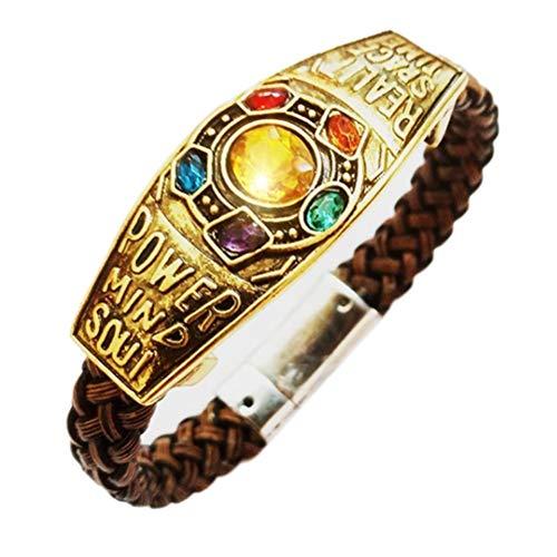 Neborn Los Vengadores, pulsera de la guerra del infinito Thanos de cuero trenzado, pulsera para hombres