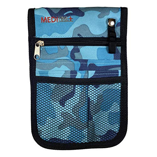 Organizador de bolsillo para enfermera veterinaria con bolsillo para recoger la cintura, cinturón ajustable, camuflaje azul.