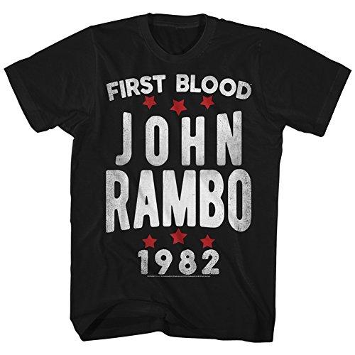 American Classics Rambo Stars John First Blood Sylvester Stallone - Camiseta para adulto - negro - 1X Alto