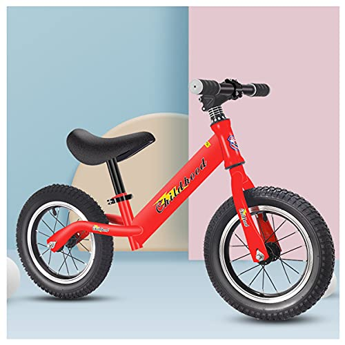 COSCANA 12' Balance Bike High Carbon Steel Frame, No Pedal Training Bicycle With Adjustable Seat And Air Tires For Kids 1-6 Years Old(Color:Red)