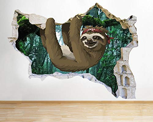 N110 Cartoon Sloth Bandana kinderen versnipperd muursticker 3D kunst sticker vinyl RoomMedium