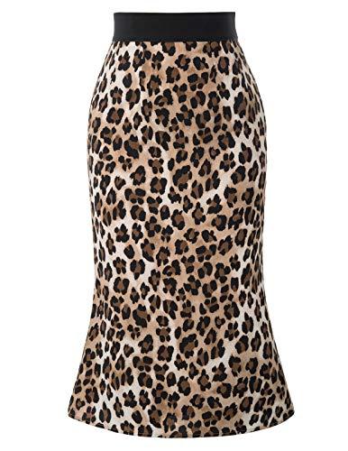 GRACE KARIN Falda Recta Leoparda para Mujer de Cintura Elástica Midi