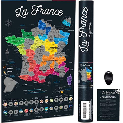 Bonanzana - Póster Francia para Rascar - Con Regiones y Departamentos Franceses visitados, con Planos, Lugares, rascador y Tubo Listo para Regalar para viajeros, Color Negro