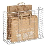 mDesign Portable Metal Farmhouse Wall Decor Angled Storage Organizer Basket Bin for Hanging in Kitchen/Pantry - Store Plastic Bags, Foils, Oils, Sandwich Bags - Chrome