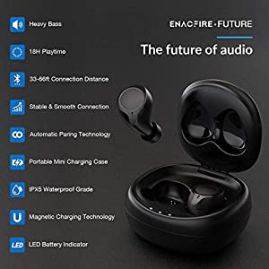 Bluetooth 5.0 Wireless Earbuds, ENACFIRE Future Wireless Bluetooth Headphones with 18H Playtime HiFi Stereo Sound Quality IPX5 Waterproof Bluetooth Earbuds with Portable Charging Case, Built-in Mic